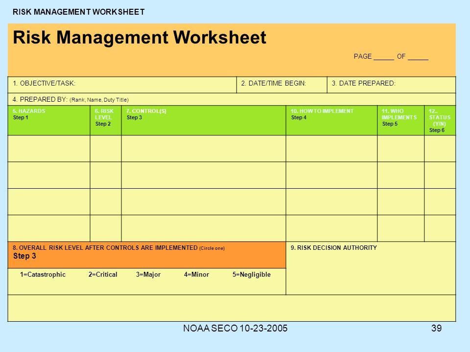Deliberate risk assessment worksheet