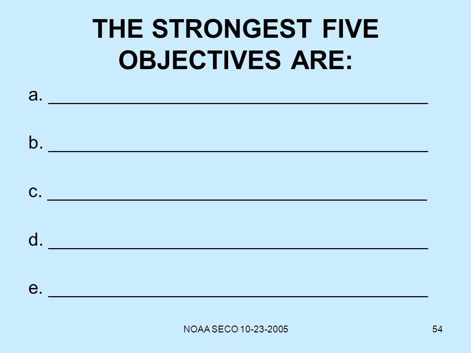 THE STRONGEST FIVE OBJECTIVES ARE: