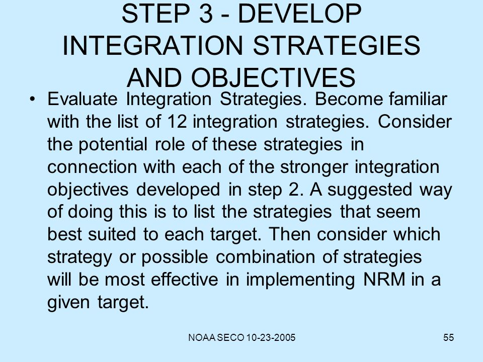 STEP 3 - DEVELOP INTEGRATION STRATEGIES AND OBJECTIVES