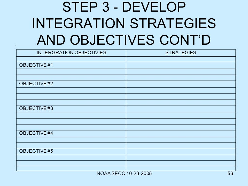 STEP 3 - DEVELOP INTEGRATION STRATEGIES AND OBJECTIVES CONT'D