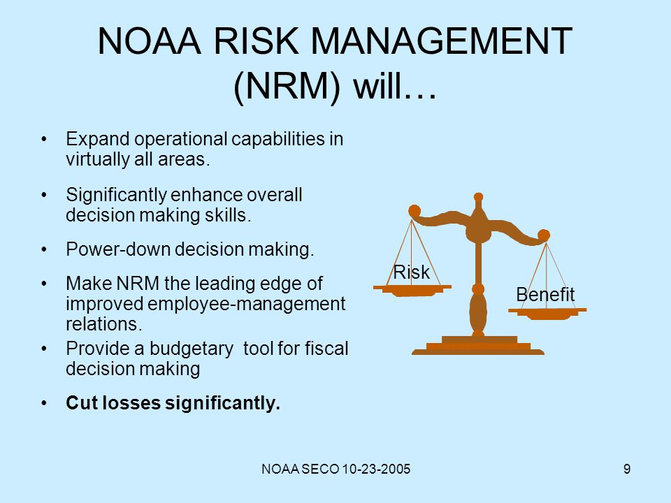 NOAA RISK MANAGEMENT (NRM) will…