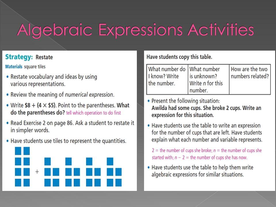 Algebraic Expressions Activities
