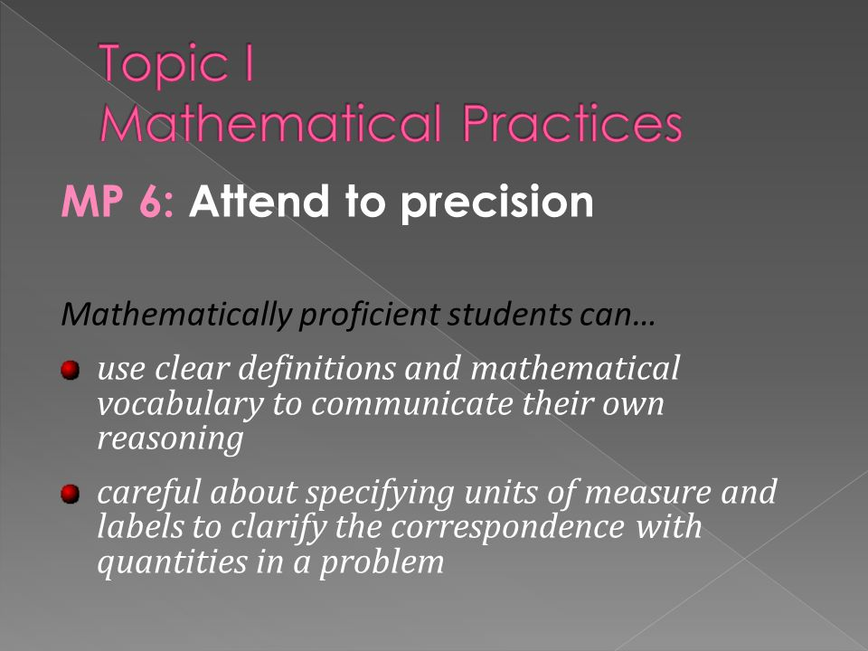 Topic I Mathematical Practices