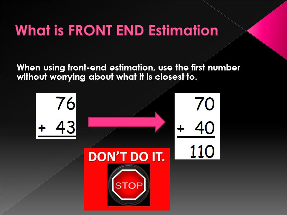 What is FRONT END Estimation