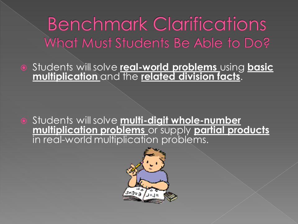Benchmark Clarifications What Must Students Be Able to Do