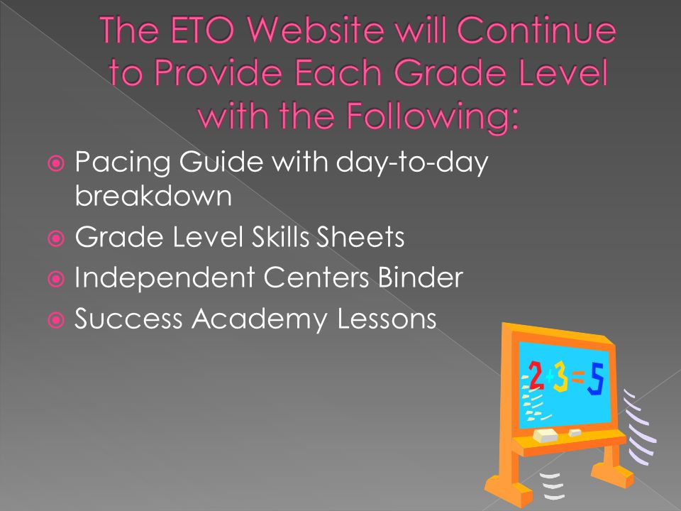 The ETO Website will Continue to Provide Each Grade Level with the Following: