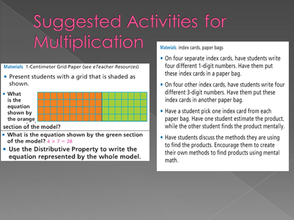 Suggested Activities for Multiplication