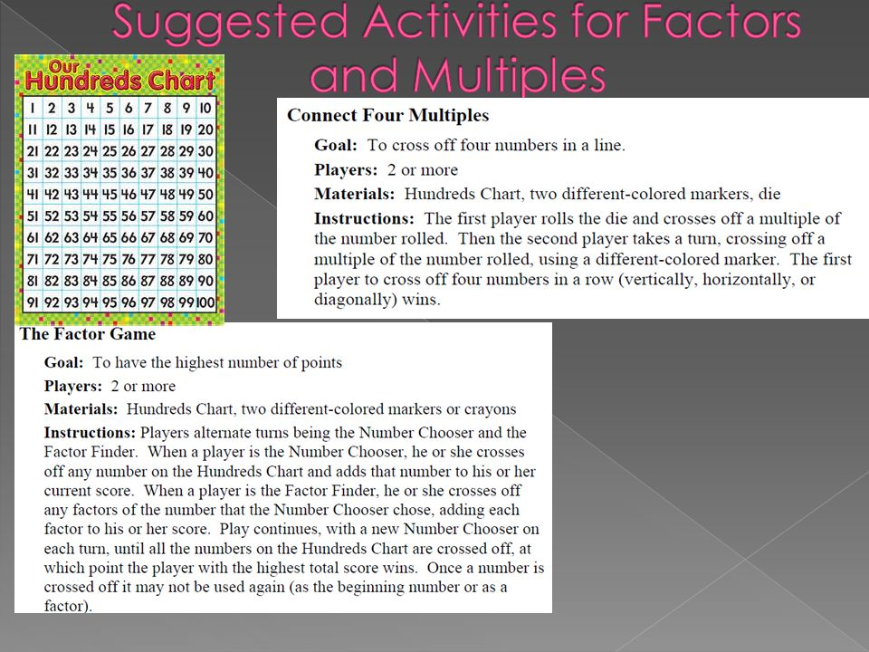 Suggested Activities for Factors and Multiples