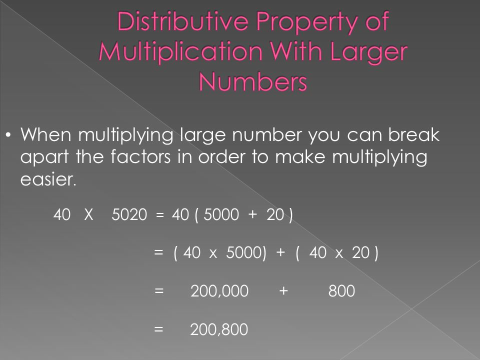 Distributive Property of Multiplication With Larger Numbers