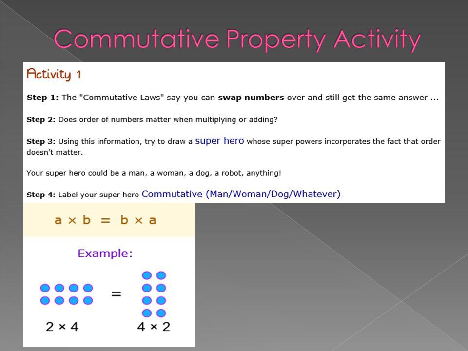 Commutative Property Activity