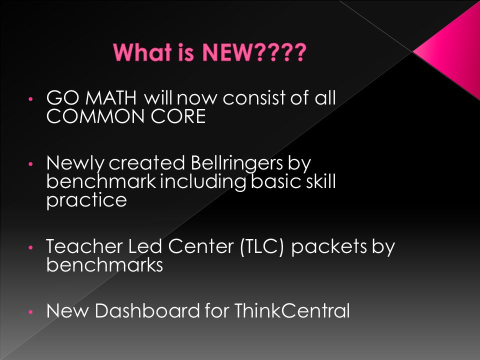 What is NEW GO MATH will now consist of all COMMON CORE