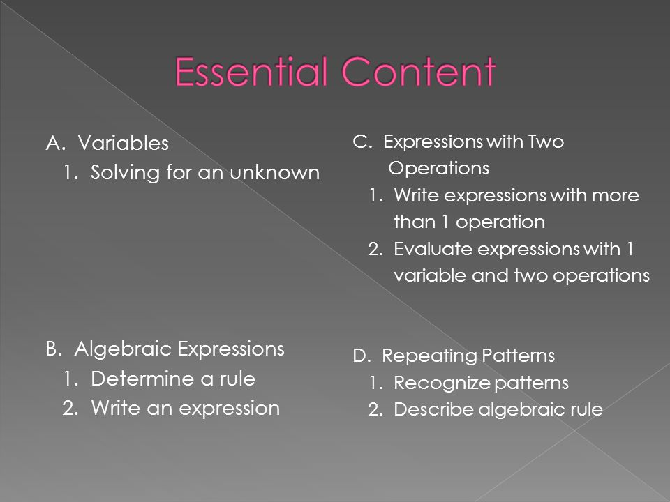 Essential Content A. Variables 1. Solving for an unknown B. Algebraic Expressions 1. Determine a rule 2. Write an expression