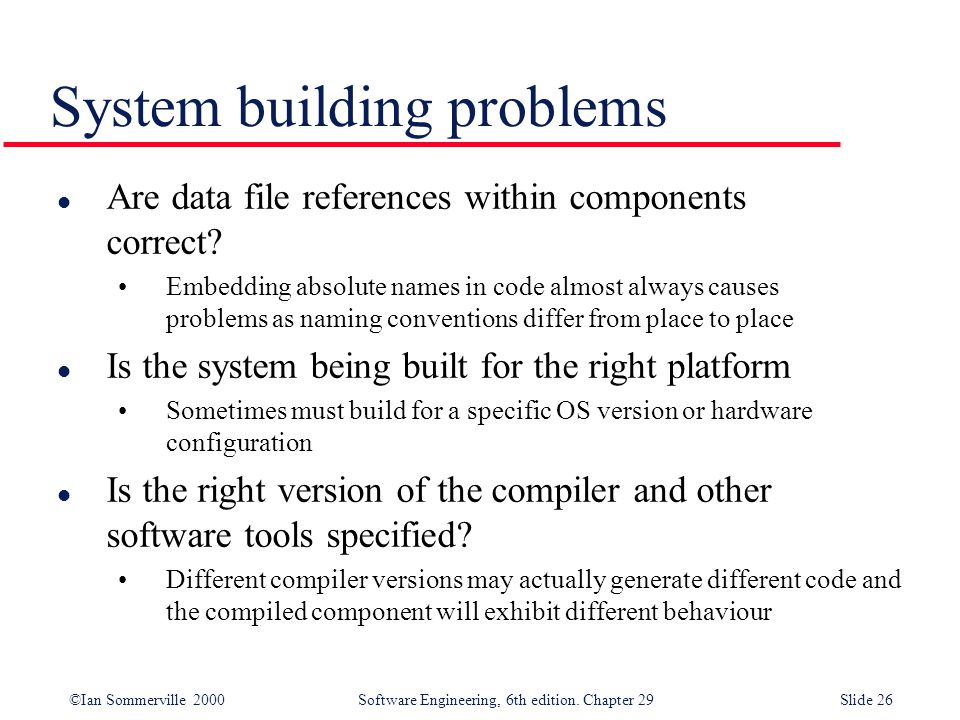 System building problems