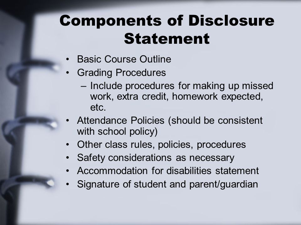 Components of Disclosure Statement