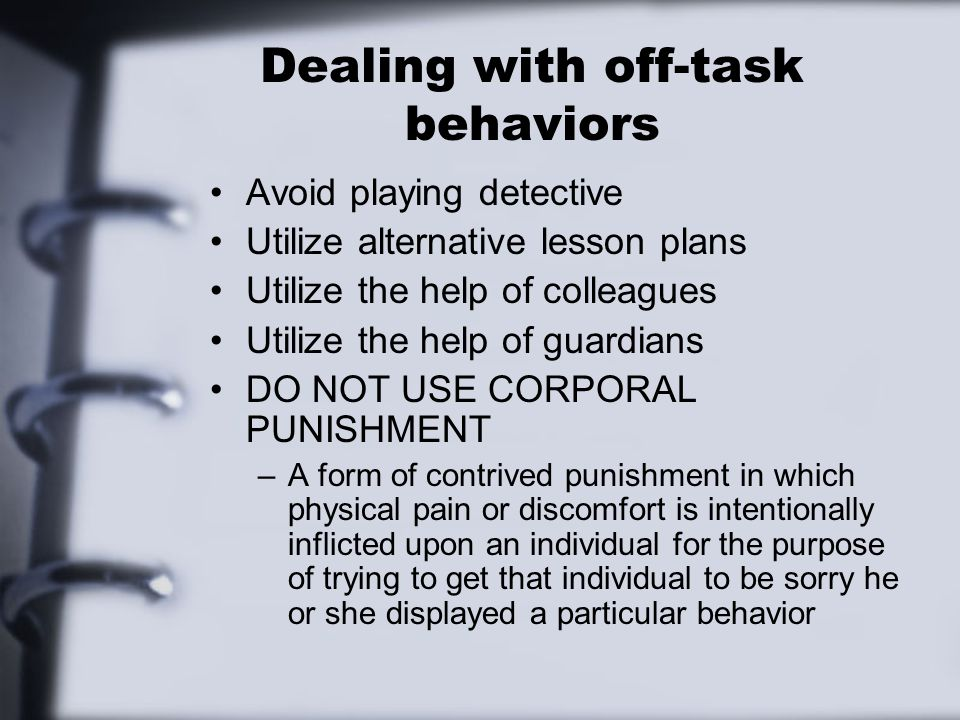 Dealing with off-task behaviors