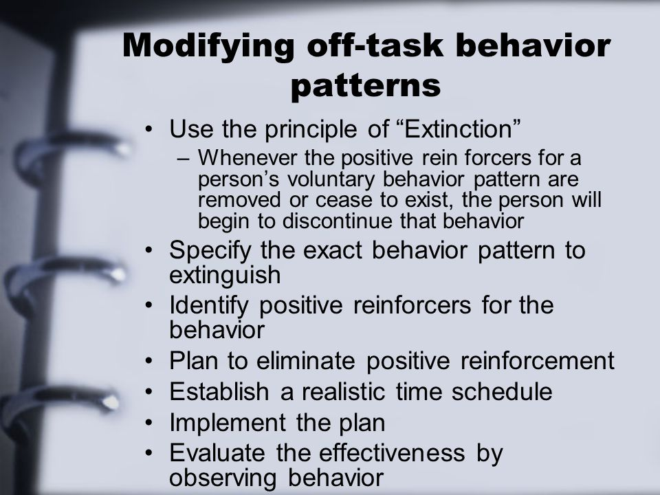 Modifying off-task behavior patterns