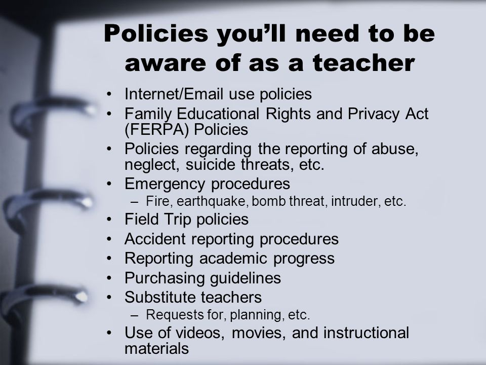 Policies you'll need to be aware of as a teacher