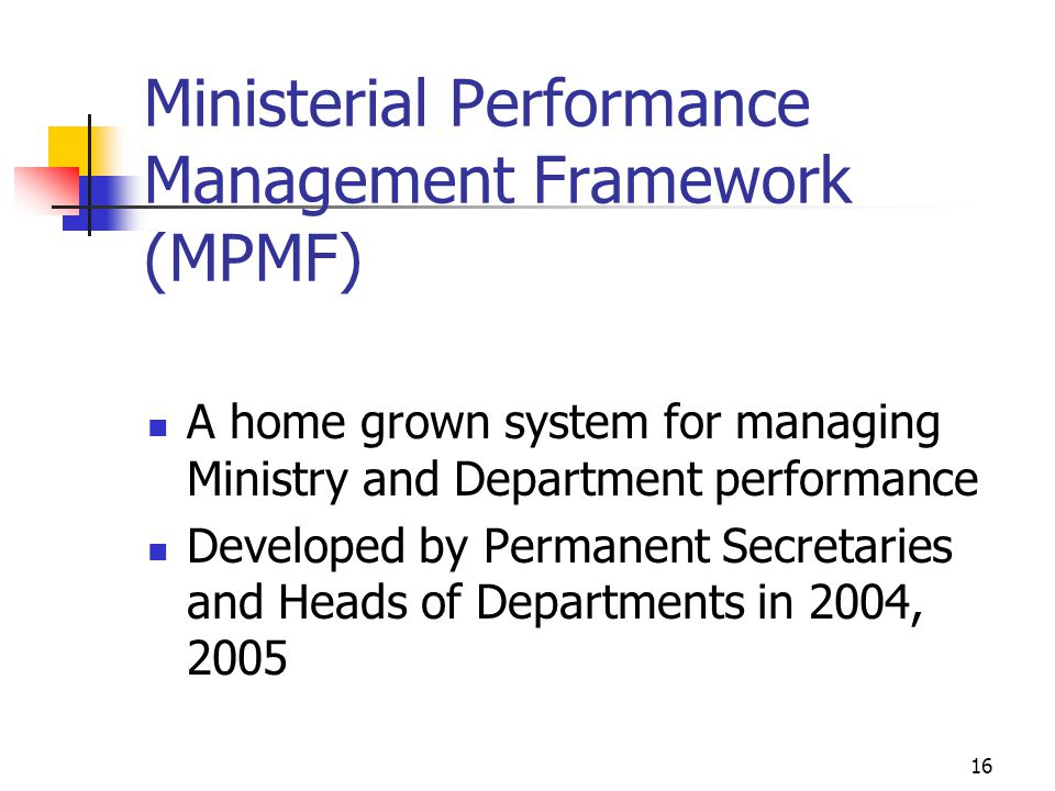 Ministerial Performance Management Framework (MPMF)