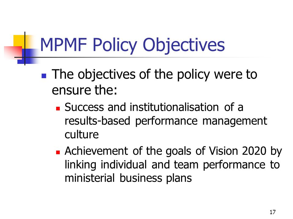 MPMF Policy Objectives