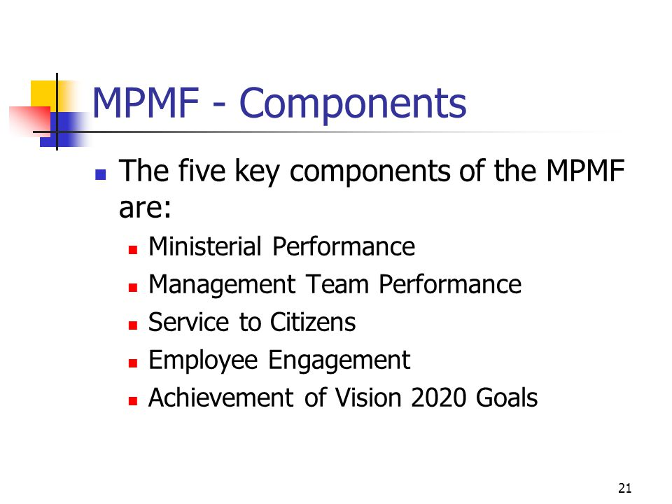 MPMF - Components The five key components of the MPMF are: