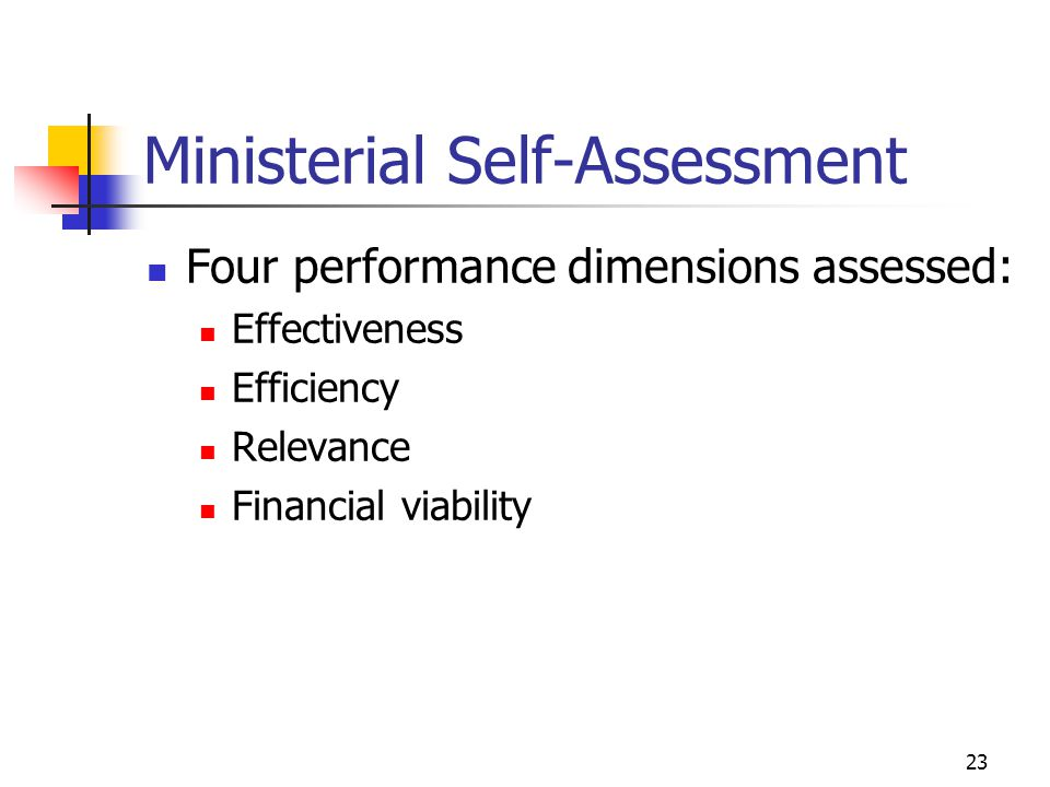 Ministerial Self-Assessment