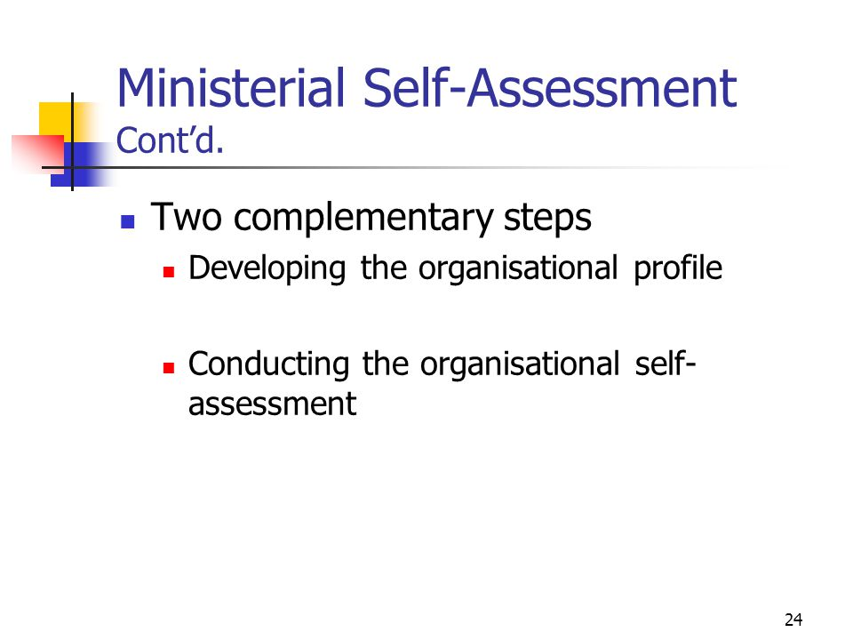 Ministerial Self-Assessment Cont'd.
