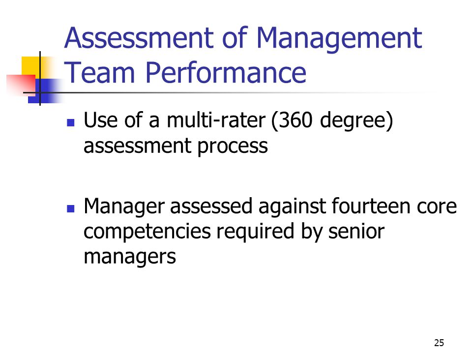 Assessment of Management Team Performance