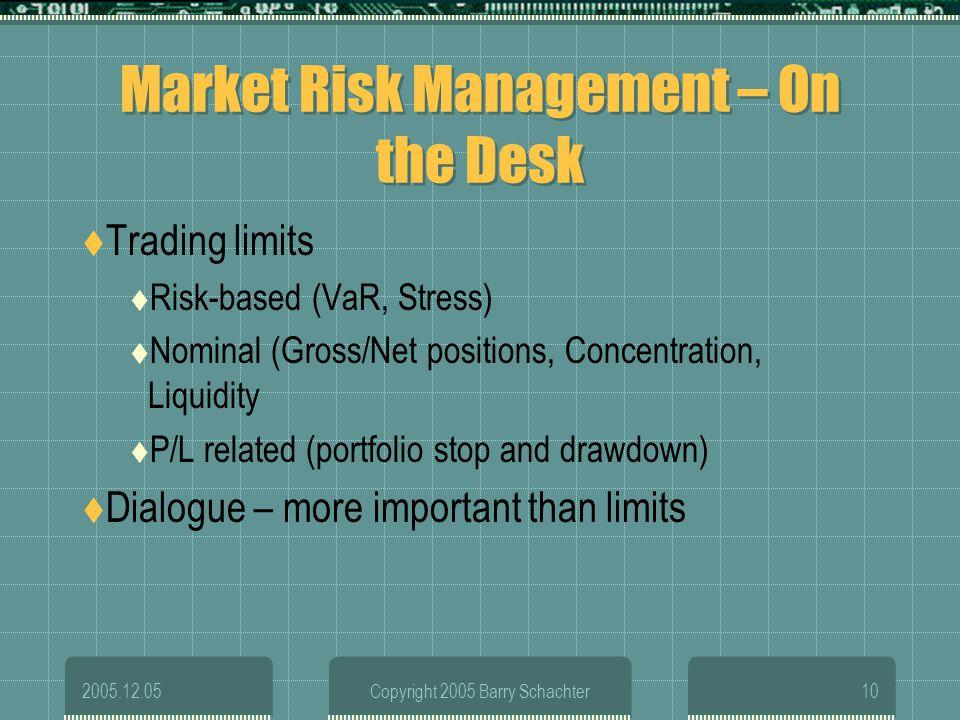 Market Risk Management – On the Desk