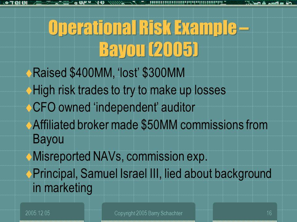 Operational Risk Example – Bayou (2005)