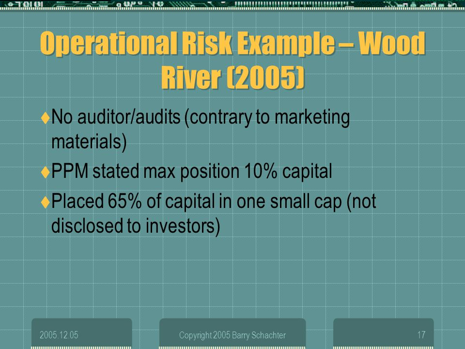 Operational Risk Example – Wood River (2005)