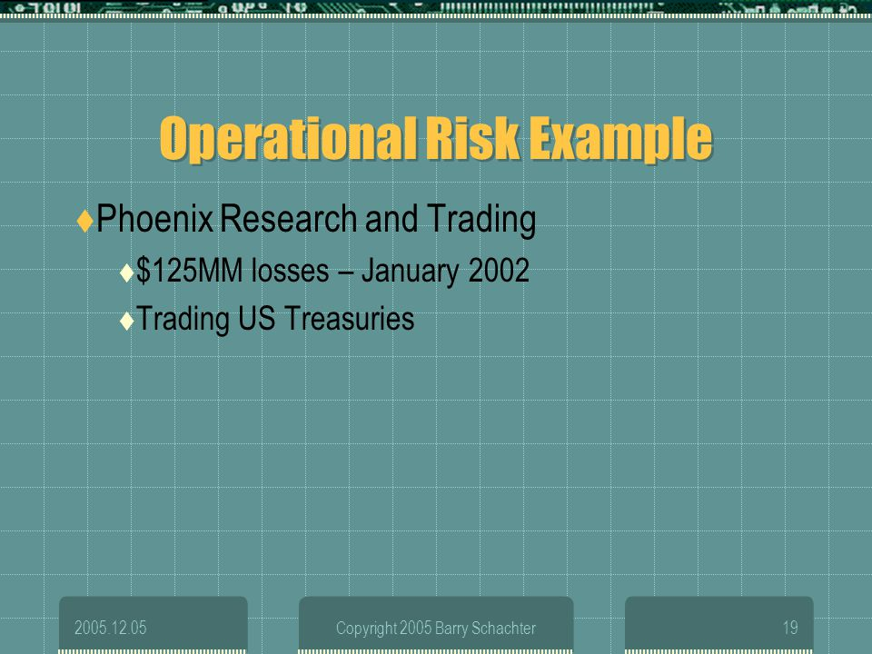 Operational Risk Example