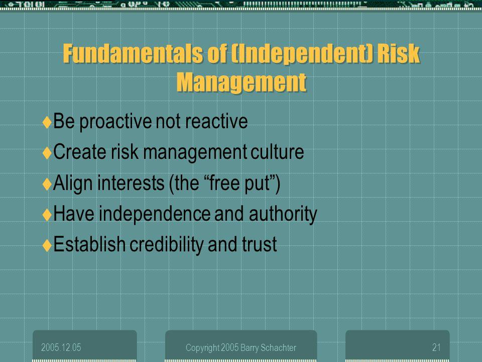 Fundamentals of (Independent) Risk Management