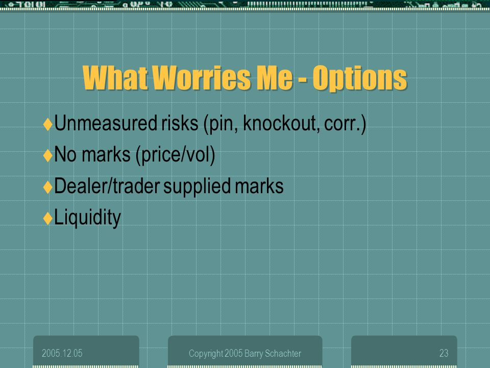 What Worries Me - Options