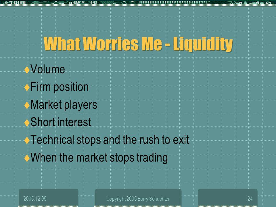 What Worries Me - Liquidity