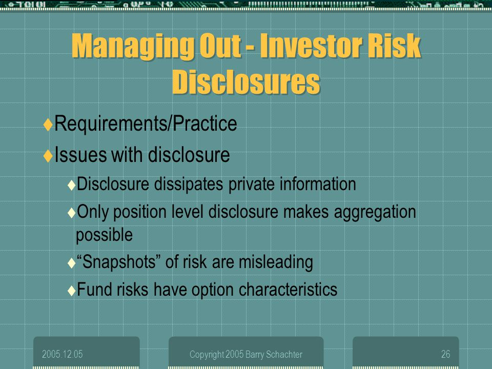 Managing Out - Investor Risk Disclosures