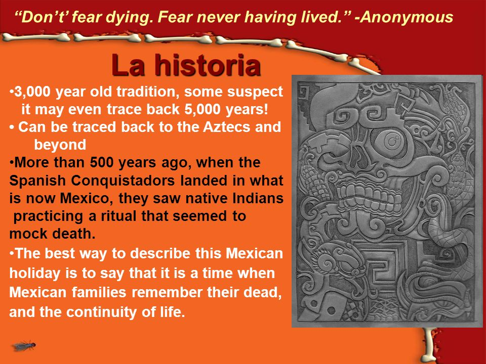 La historia Don't' fear dying. Fear never having lived. -Anonymous