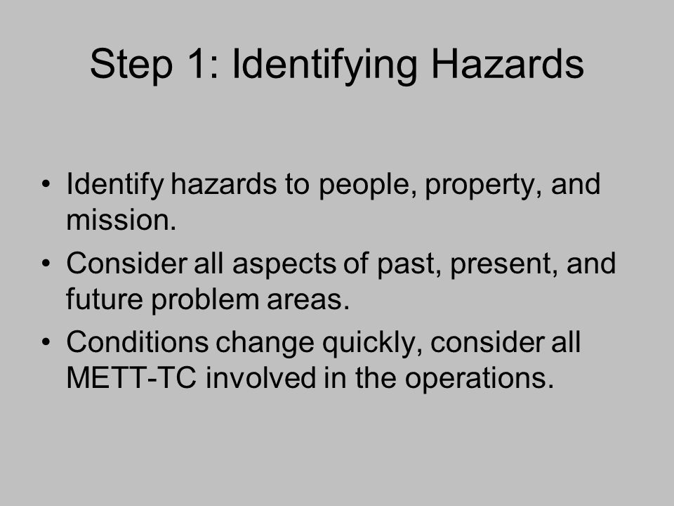 Step 1: Identifying Hazards