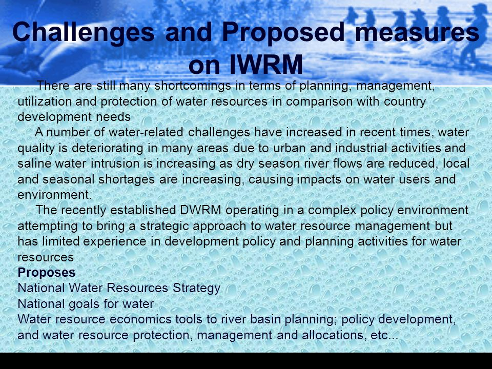 Challenges and Proposed measures on IWRM