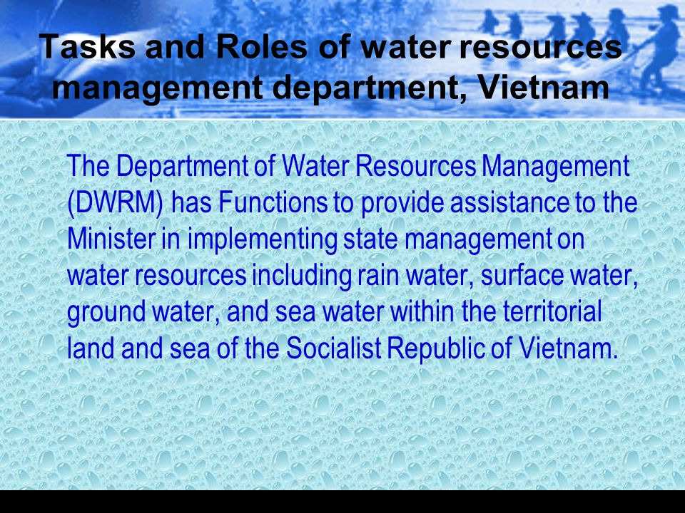 Tasks and Roles of water resources management department, Vietnam
