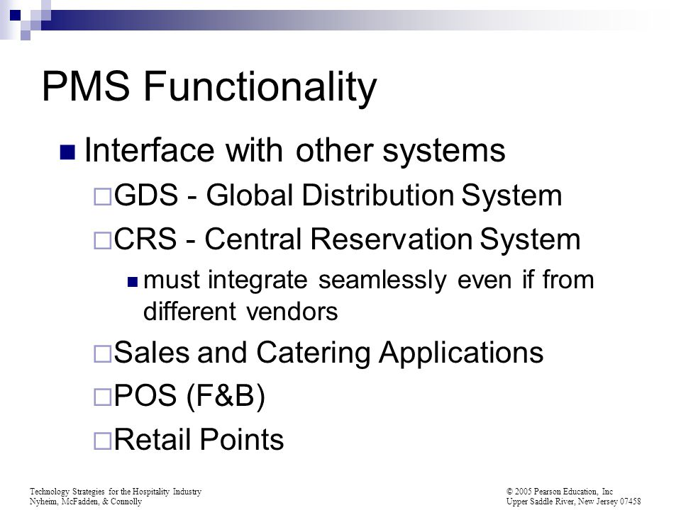 PMS Functionality Interface with other systems