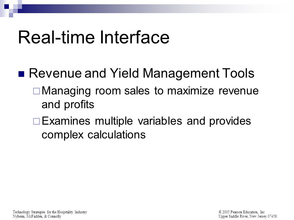Real-time Interface Revenue and Yield Management Tools