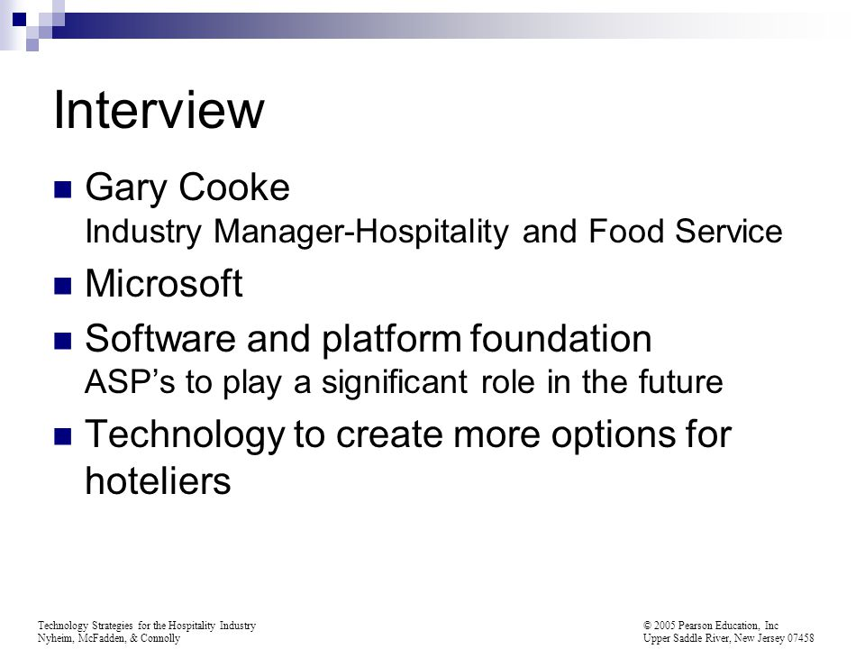 Interview Gary Cooke Industry Manager-Hospitality and Food Service