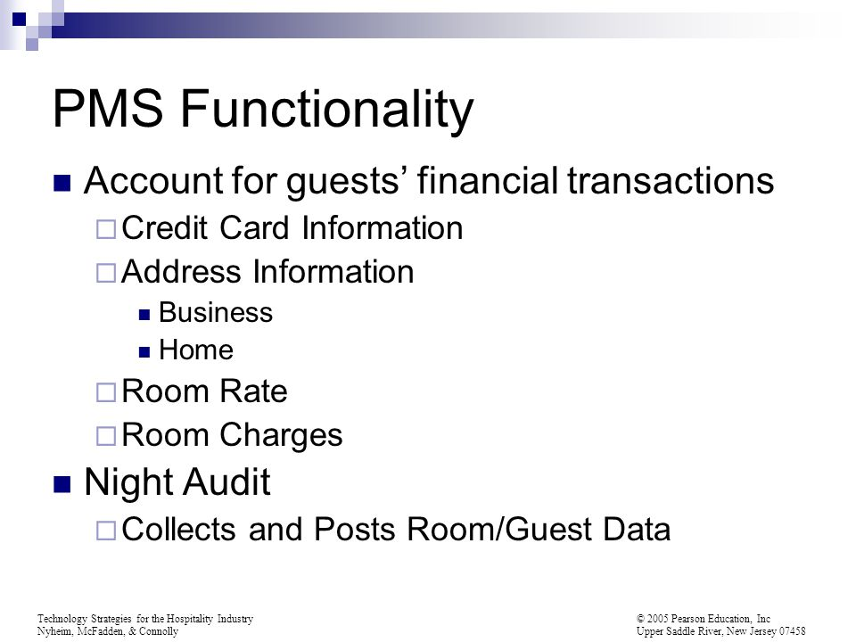 PMS Functionality Account for guests' financial transactions