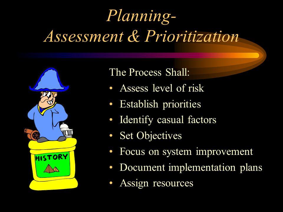 Planning- Assessment & Prioritization