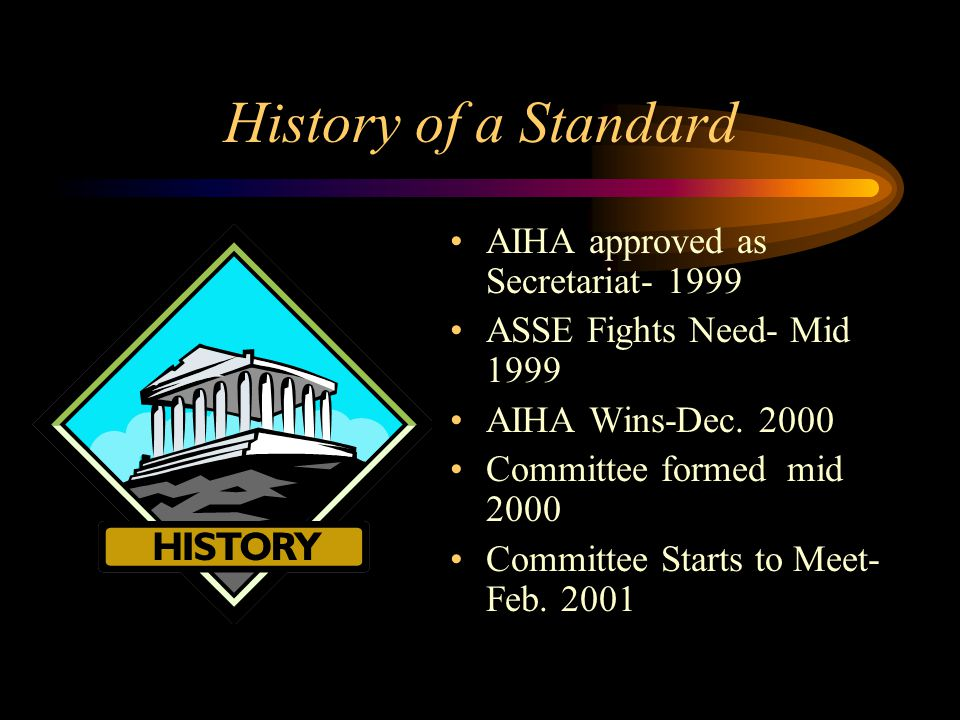 History of a Standard AIHA approved as Secretariat- 1999