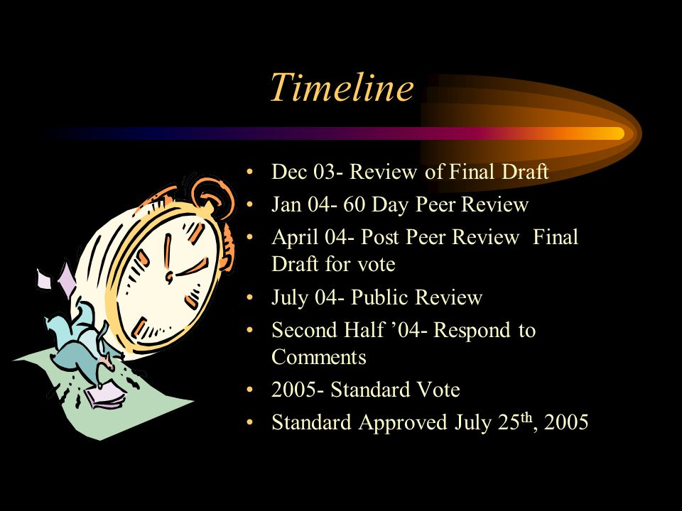 Timeline Dec 03- Review of Final Draft Jan 04- 60 Day Peer Review