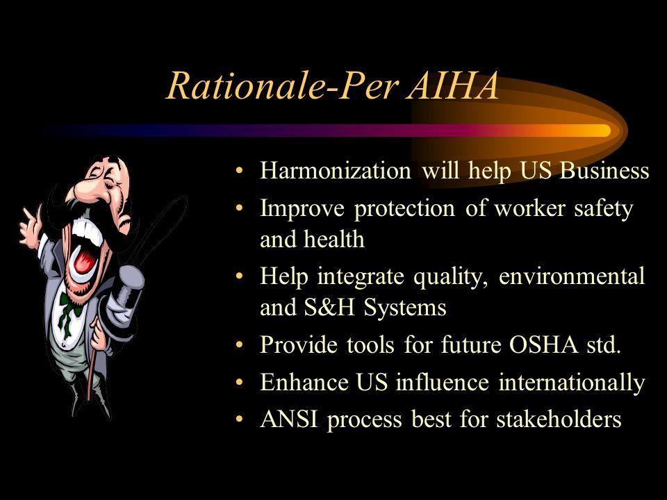 Rationale-Per AIHA Harmonization will help US Business