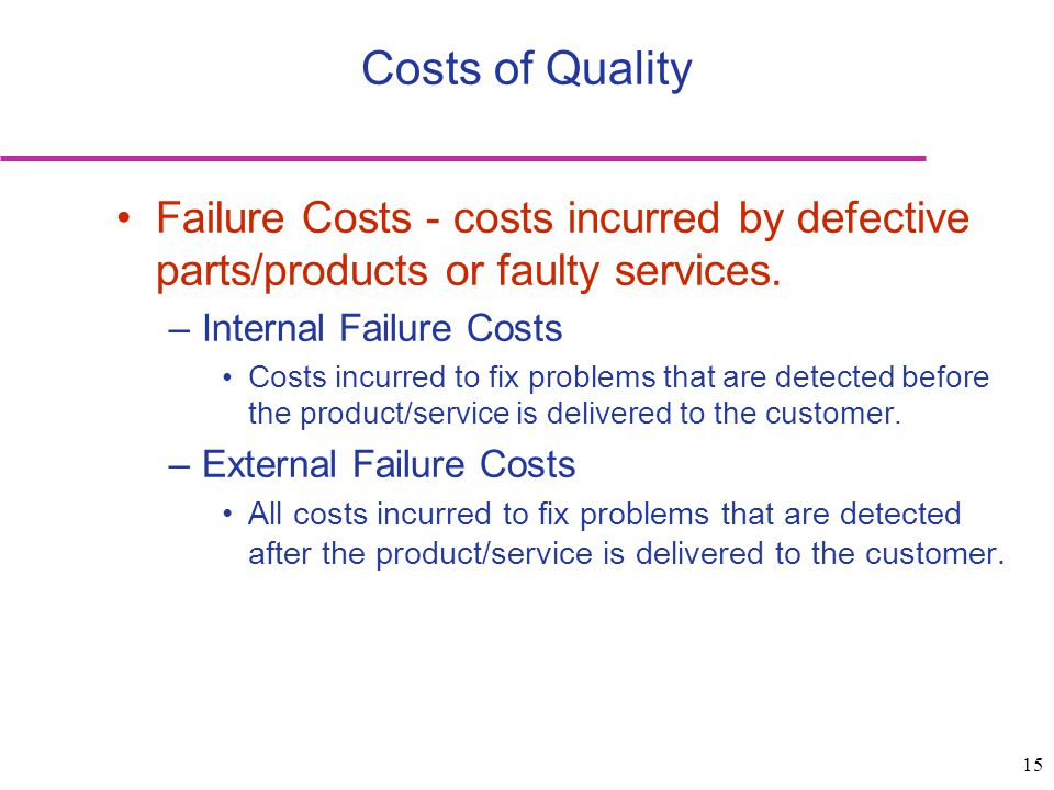 Costs of Quality Failure Costs - costs incurred by defective parts/products or faulty services. Internal Failure Costs.