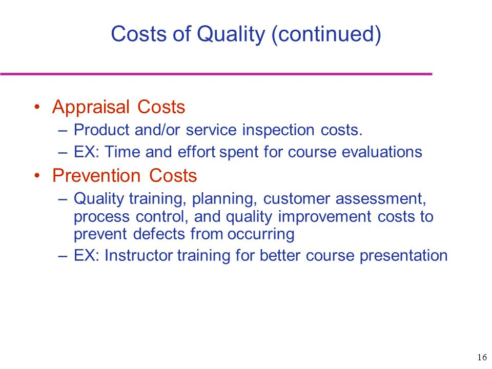 Costs of Quality (continued)