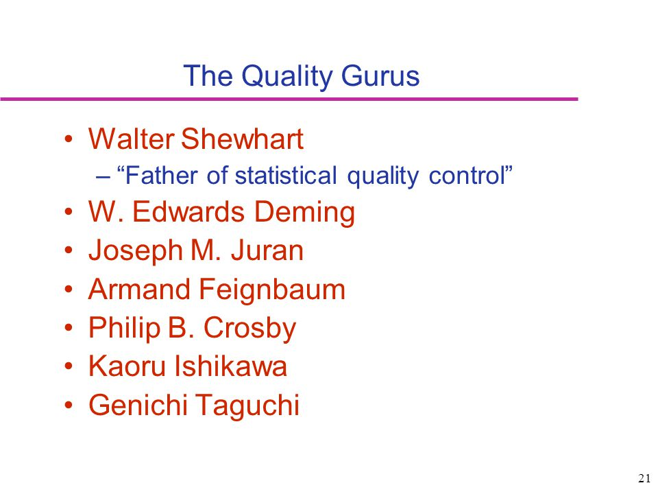 The Quality Gurus Walter Shewhart W. Edwards Deming Joseph M. Juran